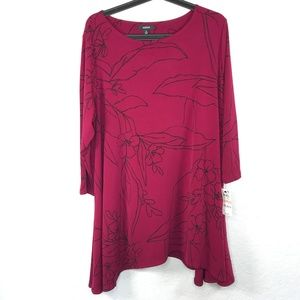 Alfani Plus Size Long Sleeve Printed Tunic Top